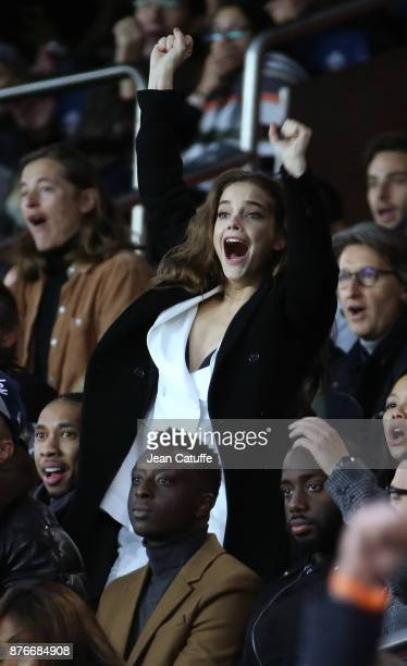 Rapper Tyga aka Micheal Ray Stevenson and model Barbara Palvin celebrate the fourth goal of Paris SaintGermain during the French Ligue 1 match...