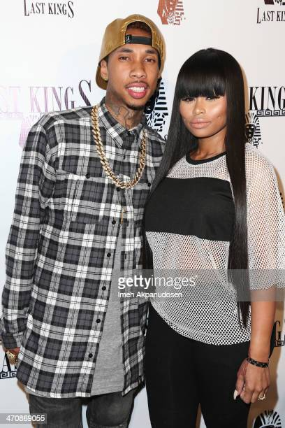 Rapper Tyga and Blac Chyna attend the exclusive press preview of Tyga's new store Last Kings Flagship Store on February 20 2014 in Los Angeles...