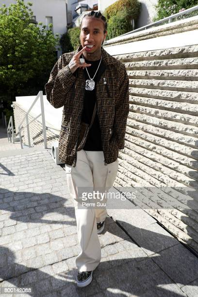 Rapper Tyga arrives at the Comme Des Garcons Homme Plus Menswear Spring/Summer 2018 show as part of Paris Fashion Week on June 23 2017 in Paris France