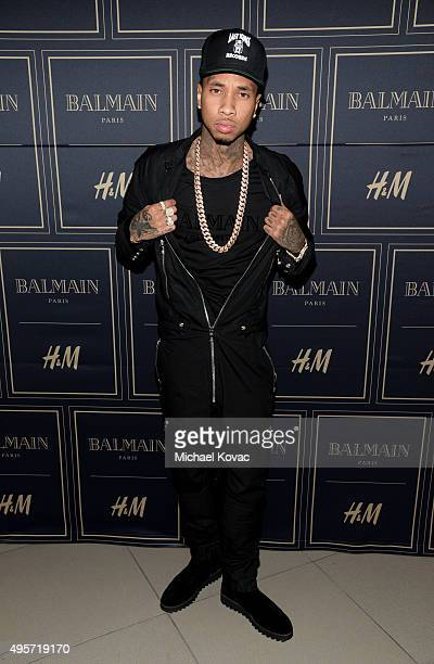 Rapper Tyga attends the Balmain x HM Los Angeles VIP PreLaunch on November 4 2015 in West Hollywood California