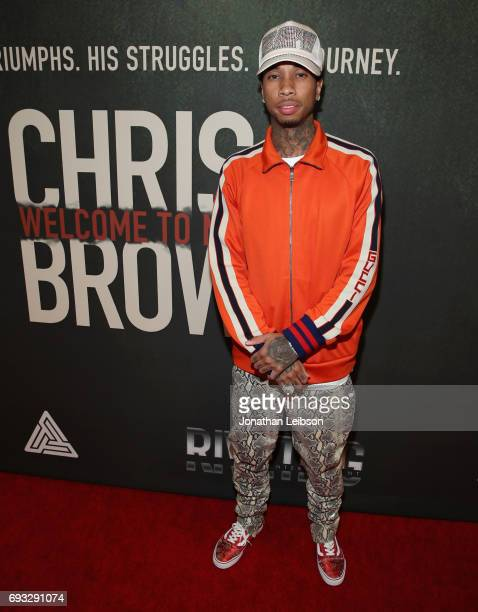 Rapper Tyga attends the Premiere Of Riveting Entertainment's Chris Brown Welcome To My Life at LA LIVE on June 6 2017 in Los Angeles California