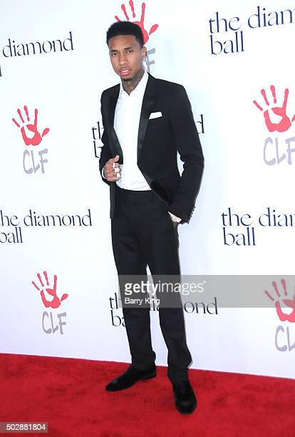 Rapper Tyga attends the Rihanna And The Clara Lionel Foundation 2nd Annual Diamond Ball at The Barker Hanger on December 10 2015 in Santa Monica...