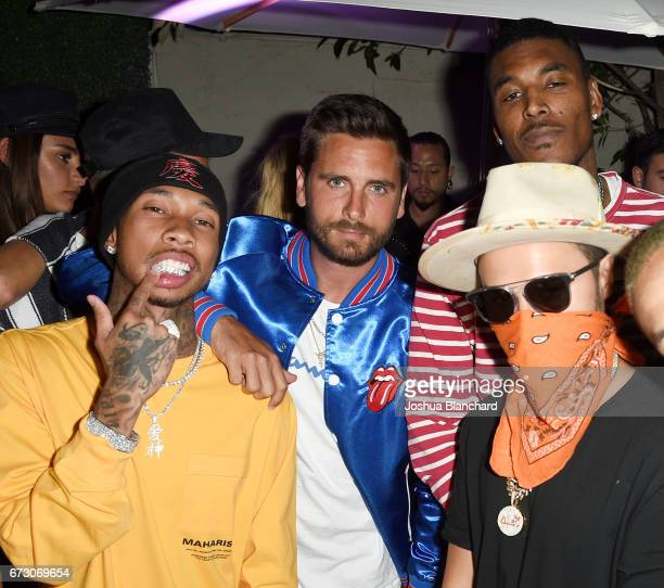 Rapper Tyga Scott Disick and TAG Heuer Art Provacateur Alec Monopoly attend TAG Heuer unveiling of Amgen Tour of California Best Young Rider Jersey...