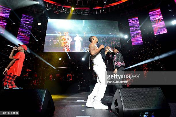 Rapper Tyga singer Trey Songz and recording artist recording artist Chris Brown perform onstage at the Mary J Blige Trey Songz And Jennifer Hudson...