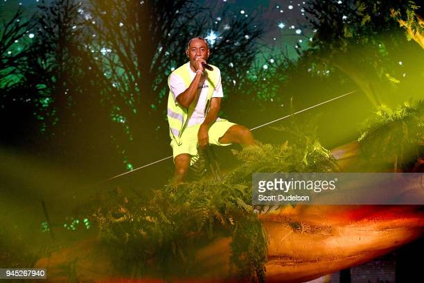 Rapper Tyler The Creator of the Odd Future collective performs onstage at The Shrine Auditorium on April 11 2018 in Los Angeles California
