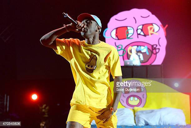 Rapper Tyler the Creator of the Odd Future collective performs onstage during day 2 of the Coachella Music Festival at The Empire Polo Club on April...