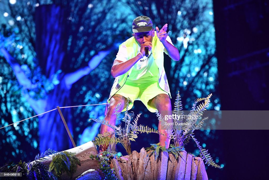 Rapper Tyler, the Creator of the Odd Future collective performs on the Sahara stage during week 1, day 2 of the Coachella Valley Music and Arts Festival on April 14, 2018 in Indio, California.