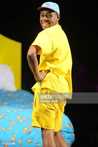 Rapper Tyler the Creator performs during the Coachella Valley Music and Arts Festival at The Empire Polo Club on April 18 2015 in Indio California