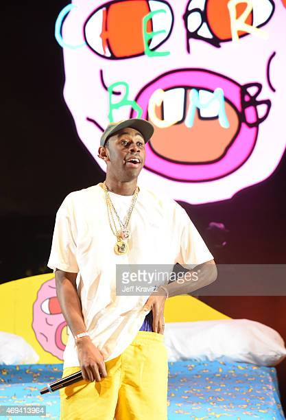Rapper Tyler The Creator performs onstage during day 2 of the 2015 Coachella Valley Music Arts Festival at the Empire Polo Club on April 11 2015 in...