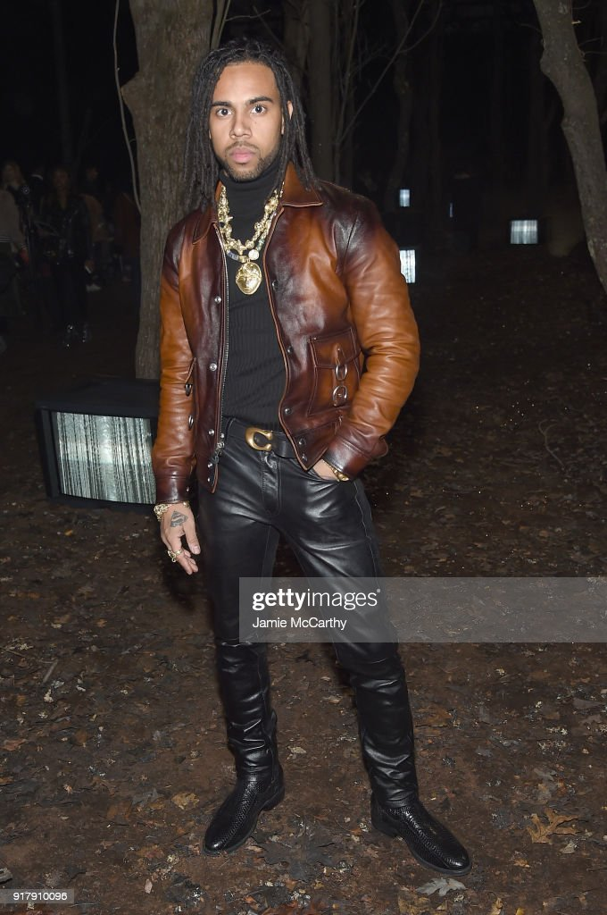 Rapper Vic Mensa attends the Coach 1941 front row during New York Fashion Week at Basketball City on February 13, 2018 in New York City.