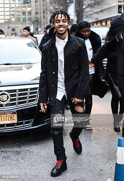Rapper Vic Mensa is seen outside the Alexander Wang show during New York Fashion Week Women's Fall/Winter 2016 on February 13 2016 in New York City