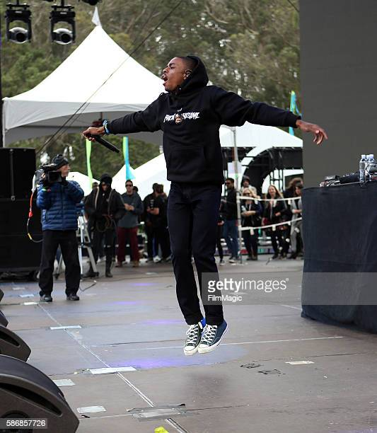 Rapper Vince Staples performs on the Twin Peaks Stage during the 2016 Outside Lands Music And Arts Festival at Golden Gate Park on August 6 2016 in...