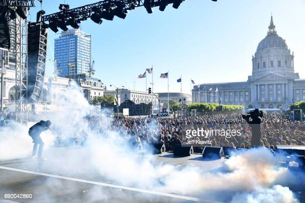 Rapper Vince Staples performs onstage at the Colossal Stage during Colossal Clusterfest at Civic Center Plaza and The Bill Graham Civic Auditorium on...