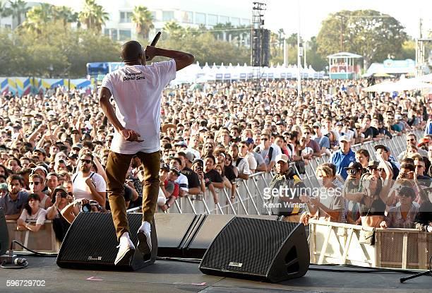 Rapper Vince Staples performs onstage during FYF Fest 2016 at Los Angeles Sports Arena on August 27 2016 in Los Angeles California