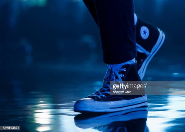 Rapper Vince Staples shoe detail performs on stage at Vogue Theatre on February 28 2017 in Vancouver Canada