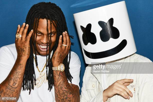Rapper Waka Flocka Flame and music producer Marshmello are photographed for Billboard Magazine on August 20 2017 at the Billboard Hot 100 Music...