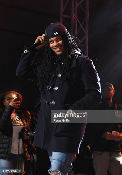 Rapper Waka Flocka Flame performs in concert during 2019 Super Bowl Live at Centennial Olympic Park on January 28 2019 in Atlanta Georgia