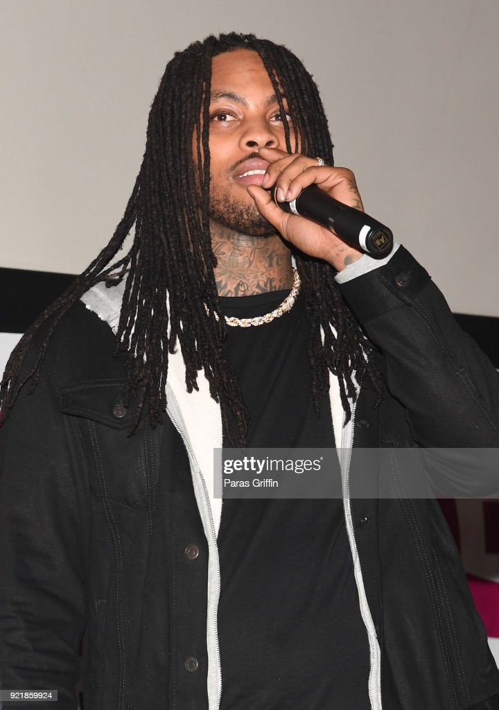 Rapper Waka Flocka speaks onstage at 'Game Night' Atlanta screening at Regal Atlantic Station on February 20, 2018 in Atlanta, Georgia.