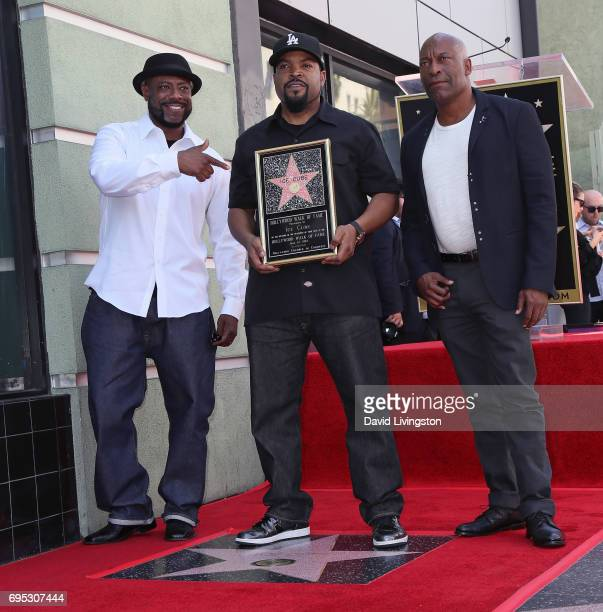Rapper WC recording artist/actor Ice Cube and director John Singleton attend Ice Cube being honored with a Star on the Hollywood Walk of Fame on June...