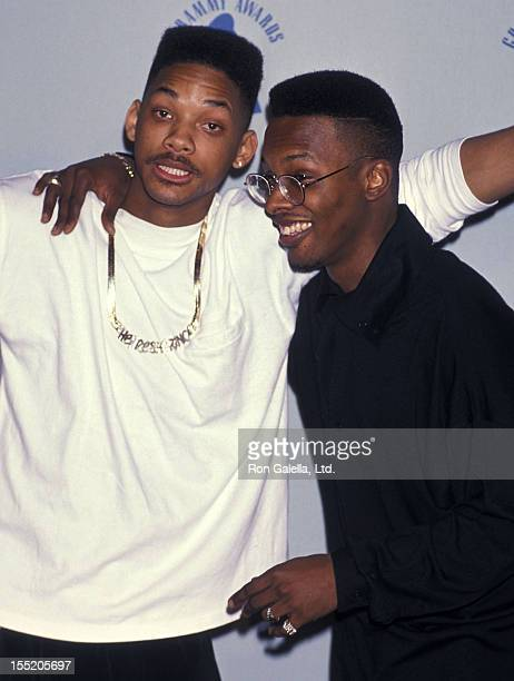 Rapper Will Smith and hip hop artist DJ Jazzy Jeff attend the 32nd Annual Grammy Awards on February 21 1990 at the Shrine Auditorium in Los Angeles...