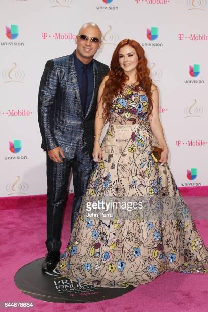 Rapper Wisin and Yomaira Ortiz attend Univision's 29th Edition of Premio Lo Nuestro A La Musica Latina at the American Airlines Arena on February 23...