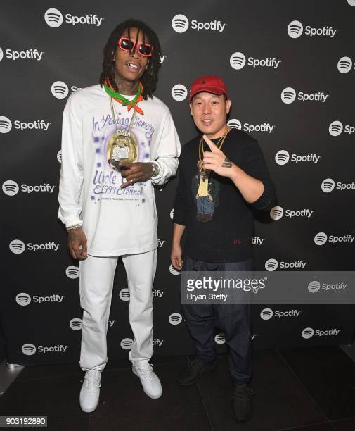 Rapper Wiz Khalifa and chef Eddie Huang attend the Spotify Supper during CES 2018 at Hakkasan Las Vegas Restaurant and Nightclub at MGM Grand Hotel...