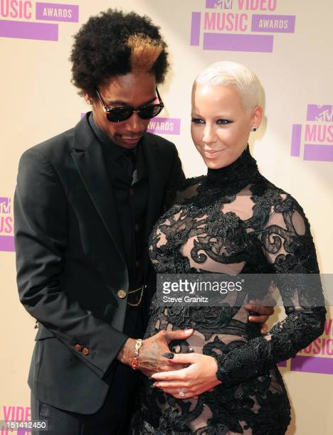 Rapper Wiz Khalifa and model Amber Rose arrive at the 2012 MTV Video Music Awards at Staples Center on September 6 2012 in Los Angeles California