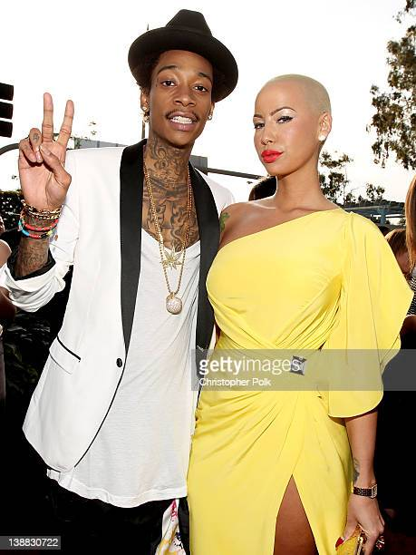 Rapper Wiz Khalifa and model Amber Rose arrive at The 54th Annual GRAMMY Awards at Staples Center on February 12 2012 in Los Angeles California