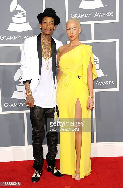Rapper Wiz Khalifa and model Amber Rose arrive at the 54th Annual GRAMMY Awards held at Staples Center on February 12 2012 in Los Angeles California