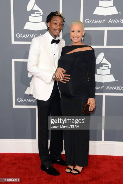 Rapper Wiz Khalifa and model Amber Rose arrive at the 55th Annual GRAMMY Awards at Staples Center on February 10 2013 in Los Angeles California