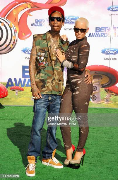 Rapper Wiz Khalifa and model Amber Rose arrive at the BET Awards '11 held at the Shrine Auditorium on June 26 2011 in Los Angeles California