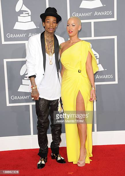 Rapper Wiz Khalifa and model Amber Rose arrives at the 54th Annual GRAMMY Awards held at Staples Center on February 12 2012 in Los Angeles California