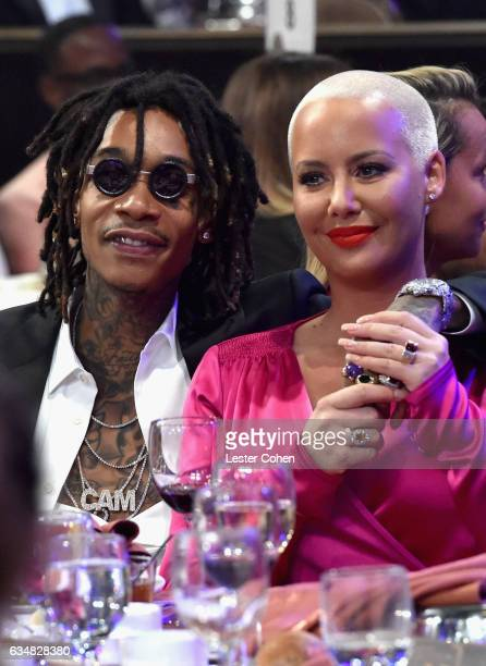 Rapper Wiz Khalifa and model Amber Rose attend PreGRAMMY Gala and Salute to Industry Icons Honoring Debra Lee at The Beverly Hilton on February 11...