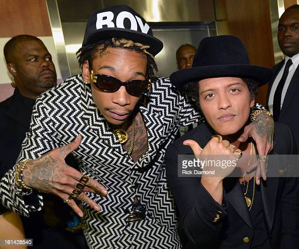 Rapper Wiz Khalifa and singer Bruno Mars attend the 55th Annual GRAMMY Awards at STAPLES Center on February 10 2013 in Los Angeles California