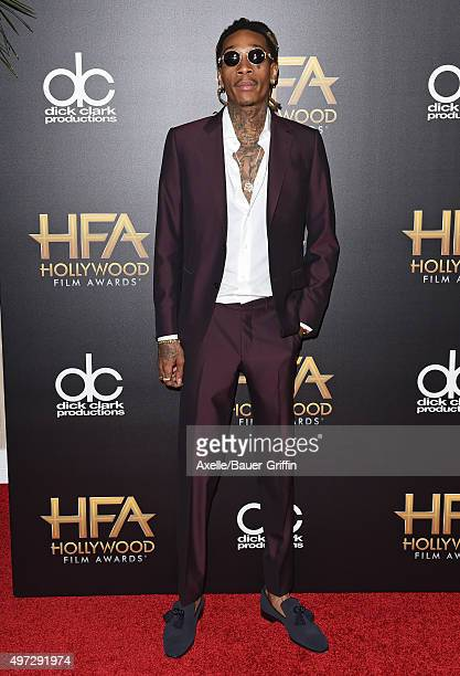 Rapper Wiz Khalifa arrives at the 19th Annual Hollywood Film Awards at The Beverly Hilton Hotel on November 1 2015 in Beverly Hills California