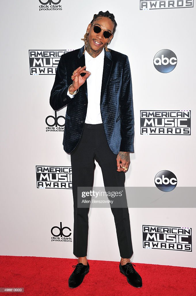 Rapper Wiz Khalifa arrives at the 2015 American Music Awards at Microsoft Theater on November 22, 2015 in Los Angeles, California.