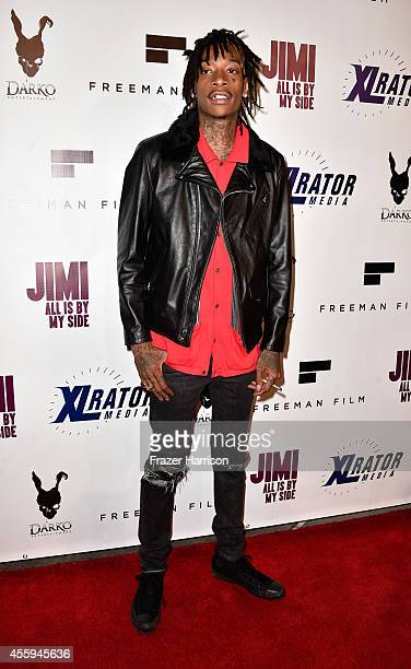 Rapper Wiz Khalifa arrives at the Screening Of 'Jimi All Is By My Side' at ArcLight Cinemas on September 22 2014 in Hollywood California