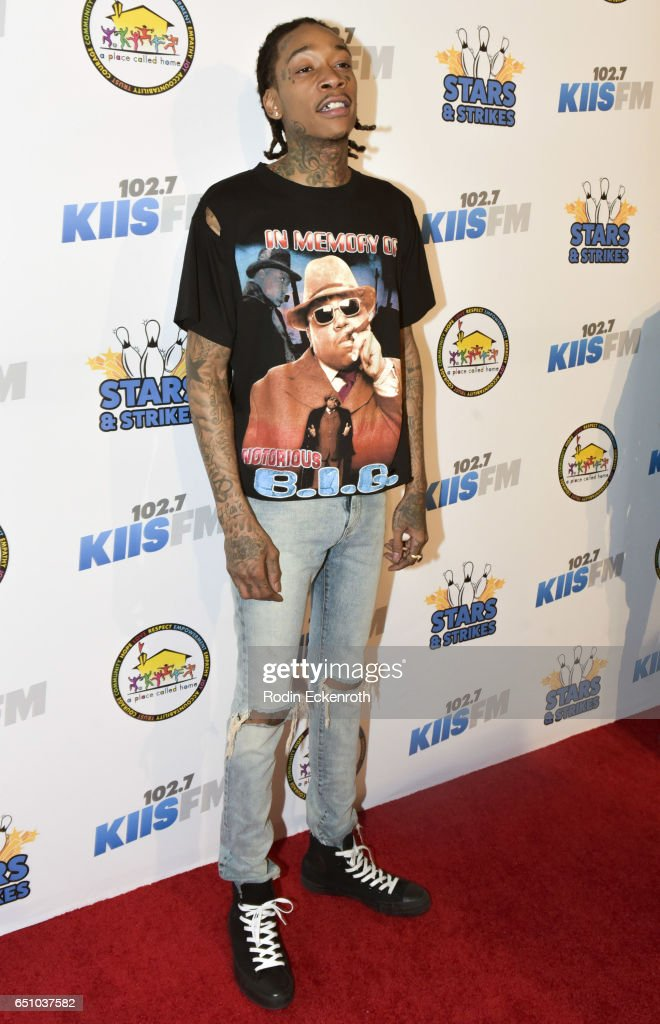 Rapper Wiz Khalifa attends the 11th Annual Stars and Strikes Bowling Tournament at PINZ Bowling & Entertainment Center on March 9, 2017 in Studio City, California.