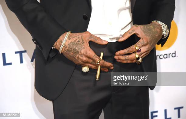 Rapper Wiz Khalifa fashion detail attends the 2017 PreGRAMMY Gala And Salute to Industry Icons Honoring Debra Lee at The Beverly Hilton Hotel on...
