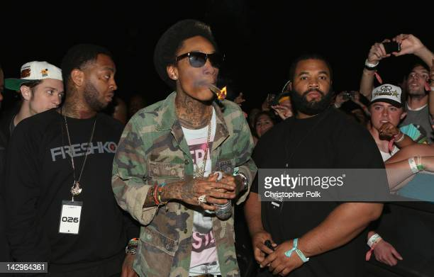 Rapper Wiz Khalifa in the audience during day 3 of the 2012 Coachella Valley Music Arts Festival at the Empire Polo Field on April 15 2012 in Indio...