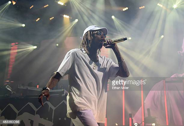 Rapper Wiz Khalifa performs at the Mandalay Bay Events Center during a stop of the Boys of Zummer tour on August 7 2015 in Las Vegas Nevada