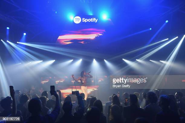 Rapper Wiz Khalifa performs at the Spotify Supper during CES 2018 at Hakkasan Las Vegas Restaurant and Nightclub at MGM Grand Hotel Casino on January...