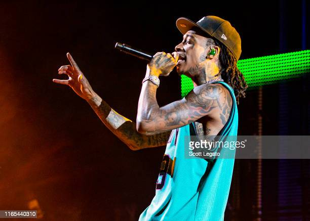 Rapper Wiz Khalifa performs during The Decent Exposure Tour at DTE Energy Music Theater on July 31 2019 in Clarkston Michigan