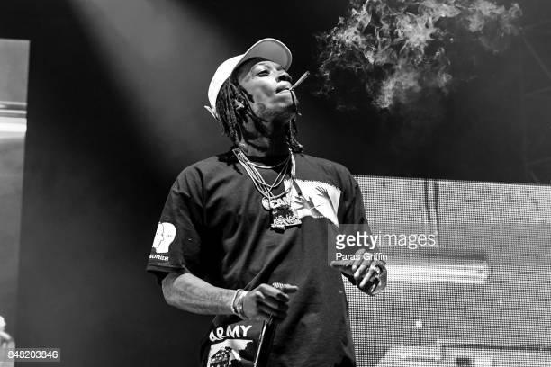 Rapper Wiz Khalifa performs onstage at 2017 Music Midtown at Piedmont Park on September 16 2017 in Atlanta Georgia