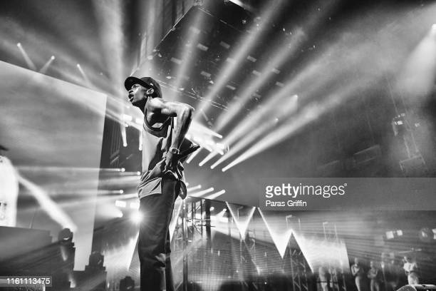 Rapper Wiz Khalifa performs onstage during his The Decent Exposure tour opener at Cellairis Amphitheatre at Lakewood on July 09 2019 in Atlanta...
