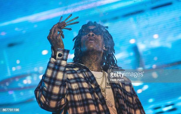 Rapper Wiz Khalifa performs onstage during Mala Luna Music Festival at Nelson Wolff Stadium on October 28 2017 in San Antonio Texas