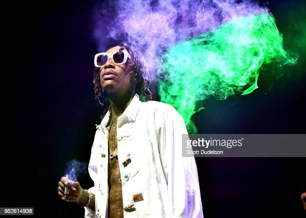 Rapper Wiz Khalifa performs onstage during the Smokers Club Festival at The Queen Mary on April 28 2018 in Long Beach California