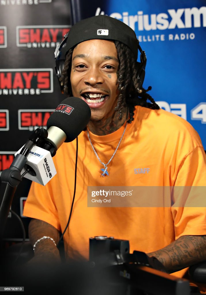 Rapper Wiz Khalifa visits 'Sway in the Morning' with Sway Calloway on Eminem's Shade 45 at the SiriusXM Studios on June 8, 2018 in New York City.