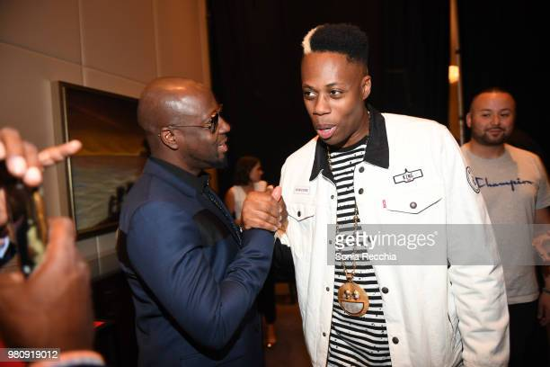 Rapper Wyclef Jean and Canadian rapper Kardinal Offishall attend Joe Carter Classic After Party at Ritz Carlton on June 21 2018 in Toronto Canada