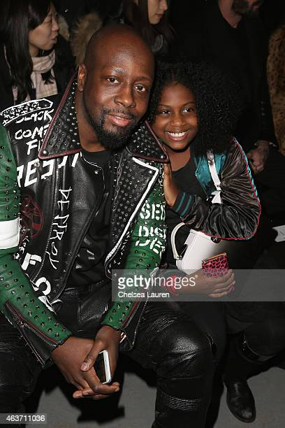 Rapper Wyclef Jean and his daughter Angelina Claudinelle Jean attend the Diesel Black Gold fashion show during MercedesBenz Fashion Week Fall 201 on...